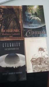 J'ai participé à l'échelon Potentès ce qui m'a valu également 4 livres, un de chaque auteur : - Cytheriae de C. Bousquet - Bohème de M. Gaborit, - Le Dit de Sargas de Régis Antoine Jaulin, et - Eternity Incorporated de Raphaël Granier de Cassagnac